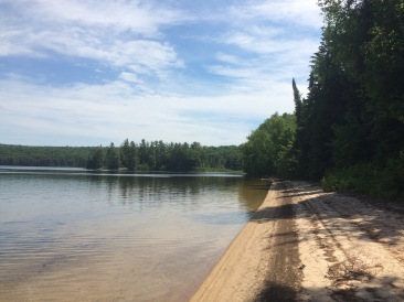 The beach in front of the Ranger Cabin.