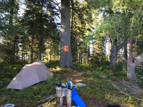 There's an orange sign, but this is not a camp site.