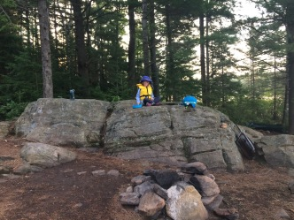 Fire pit with the rock counter/windbreak behind