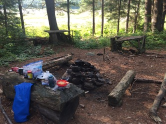 The fire pit area, log counter in foreground, ghosts of tables past in the background.