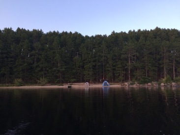 The site from the water. The tents aren't included.