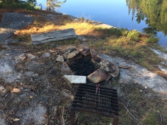 Fire pit, grill, toast grill and a sad little log that doubles as the only seating on the site.