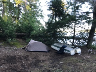 A tent and an overturned tin boat, just two of the things you usually see on sites in the Algonquin back country.