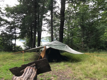 A third tent spot, getting the tarp up was fun.