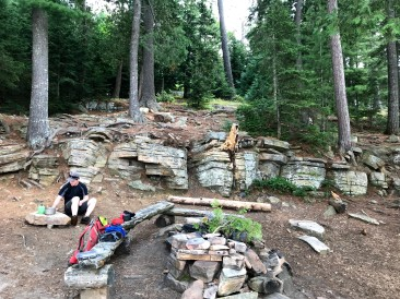 The benches and rock wall feature