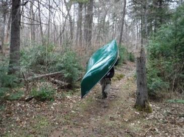 An Algonquin Upright Walking Canoe heading home.