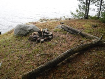 "Further view of the fire pit, with log ""benches"" added."