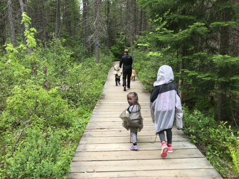 The first boardwalk and my kids in bug suits.