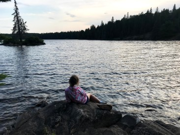 My daughter, taking in the view.