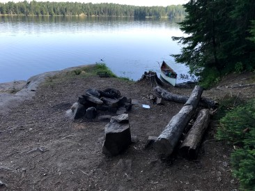 Looking over the fire pit at Tom Thomson