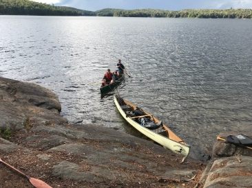 Landing a canoe! Not a bad spot to swim either.