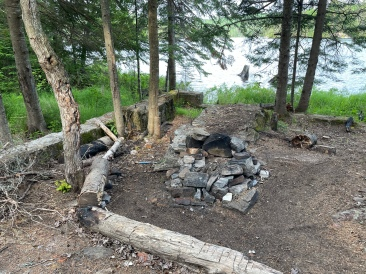 The fire pit, benches and foundation.