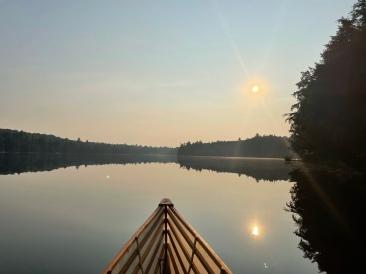 Paddling across Bear Lake